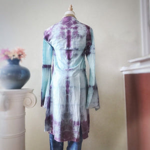Shibori dyed kimono inspired wrap, asymmetrical cotton robe, hand dyed artistic cardigan - Up-cycled clothing by Andrea Durham Designs