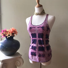 Load image into Gallery viewer, Tie dye tank top purple and pink shibori style ooak handmade - Up-cycled clothing by Andrea Durham Designs
