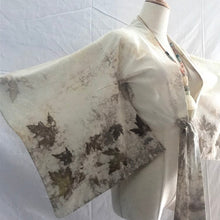 Load image into Gallery viewer, Kimono wrap, cropped top, tie front kimono inspired, Eco Print Kimono top small - Up-cycled clothing by Andrea Durham Designs