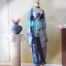 Load image into Gallery viewer, Shibori dyed kimono inspired wrap, asymmetrical cotton robe, hand dyed artistic cardigan - Up-cycled clothing by Andrea Durham Designs