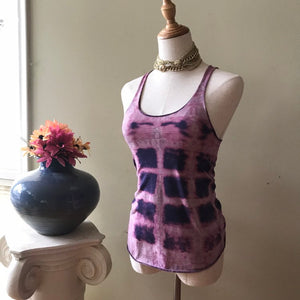 Tie dye tank top purple and pink shibori style ooak handmade - Up-cycled clothing by Andrea Durham Designs