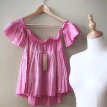 Load image into Gallery viewer, Off the shoulder baby doll crop top handmade OOAK - Up-cycled clothing by Andrea Durham Designs