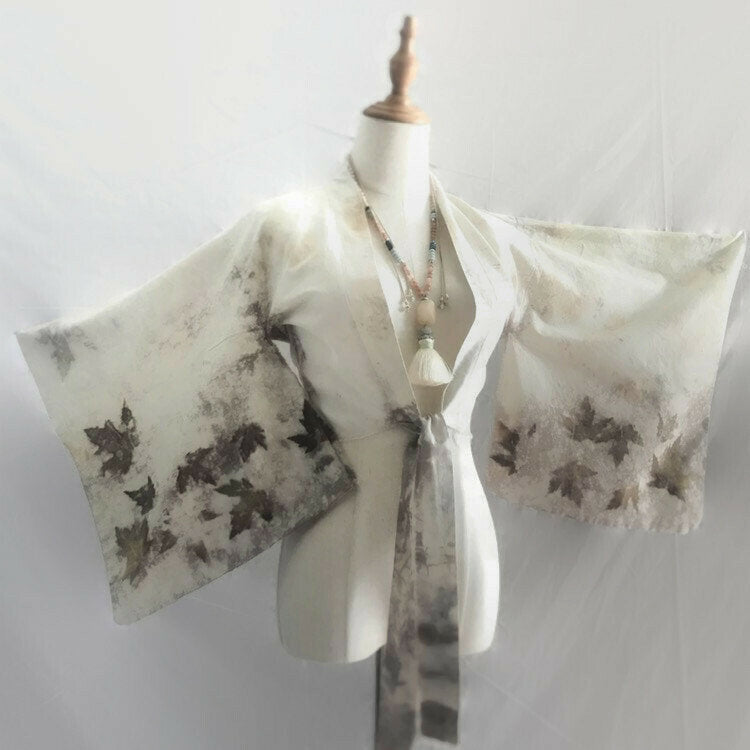 cream kimono wrap with econprinting of leaves