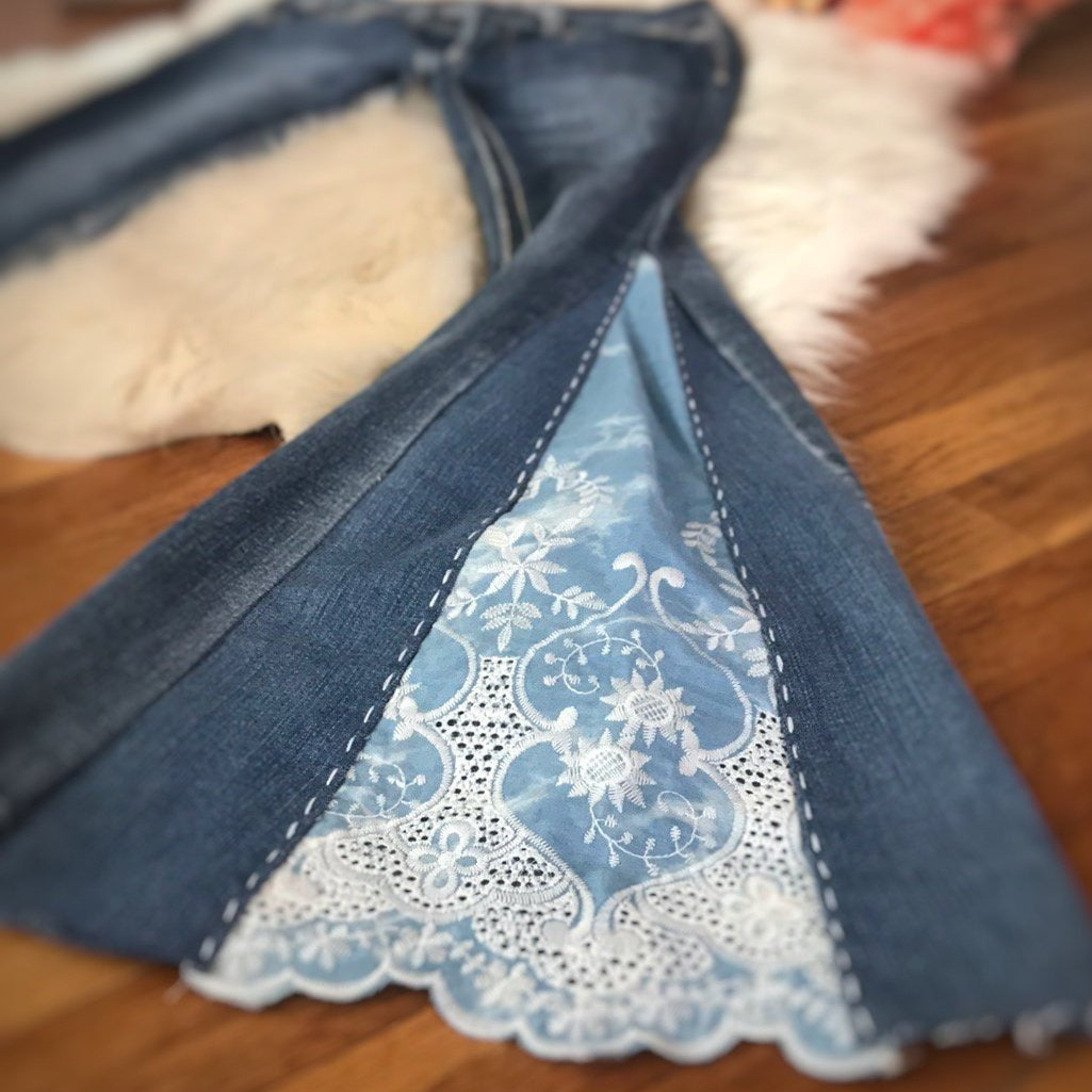 Custom TRIPLE PANEL Bell Bottom Jeans - Up-cycled clothing by Andrea Durham Designs