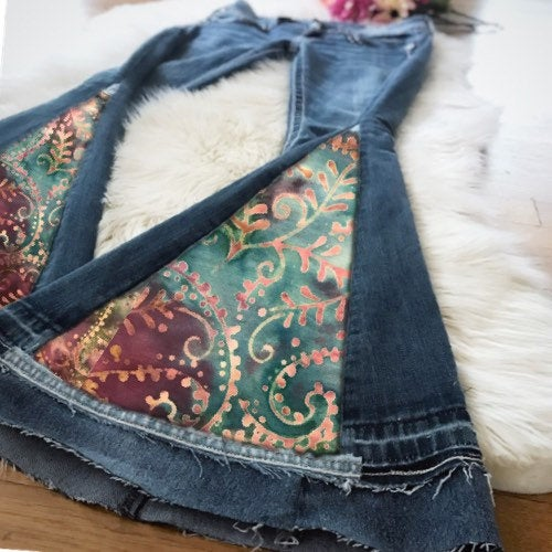 Custom SINGLE PANEL Bell Bell Bottom Jeans - Up-cycled clothing by Andrea Durham Designs