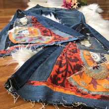 Load image into Gallery viewer, Custom Handmade COLLAGE Bell Bottom Jeans - Up-cycled clothing by Andrea Durham Designs