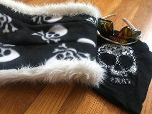 Infinity scarf with skulls, neck warmer with hidden pocket. White faux fur with a reversible skull polar fleece - Up-cycled clothing by Andrea Durham Designs