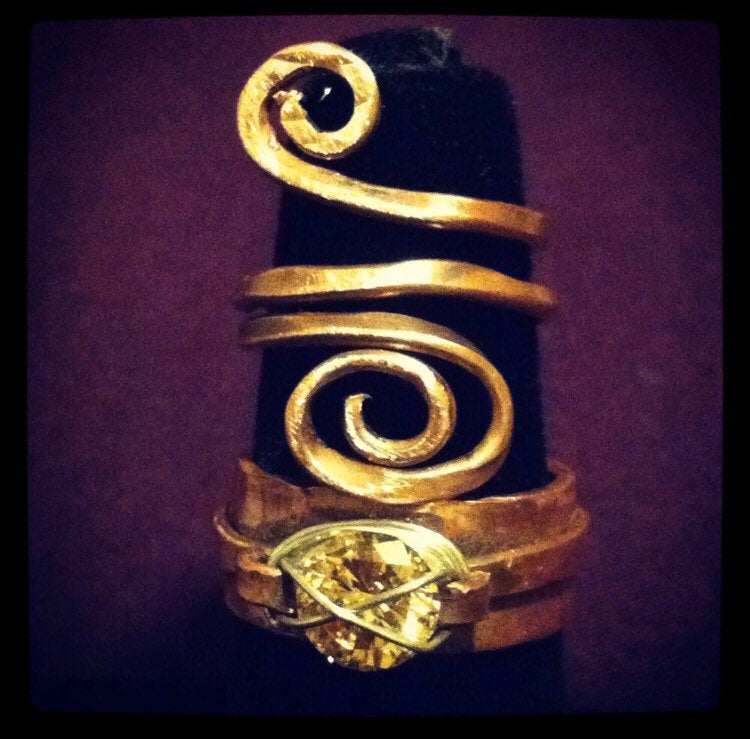 Handmade Twisted pinkie thumb ring with swirl, whimsical statement ring - Up-cycled clothing by Andrea Durham Designs