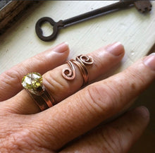 Load image into Gallery viewer, Handmade Twisted pinkie thumb ring with swirl, whimsical statement ring - Up-cycled clothing by Andrea Durham Designs