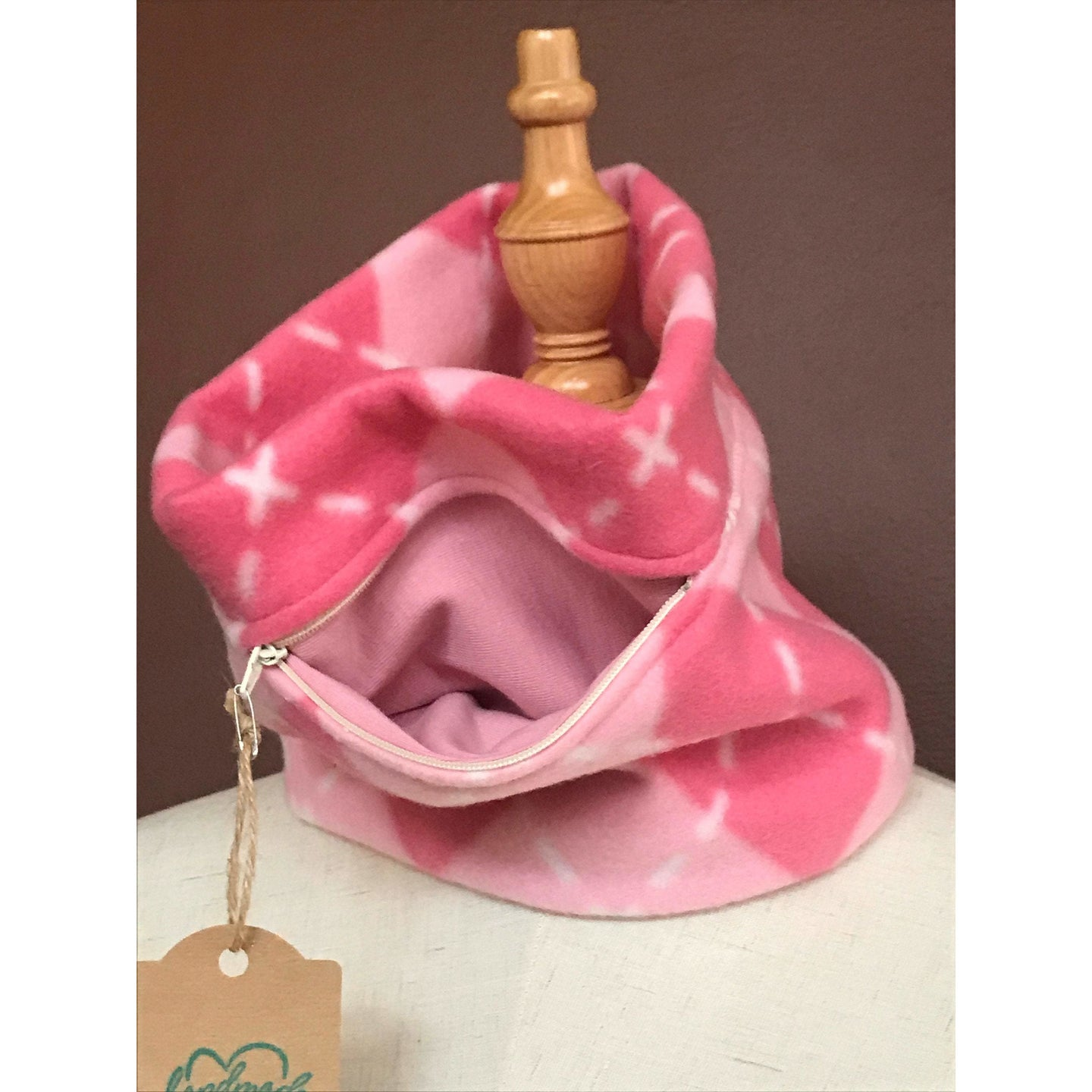 Child's pink cowl neck scarf with front pocket - Up-cycled clothing by Andrea Durham Designs