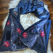 Load image into Gallery viewer, Custom PATCHWORK Bell Bottom Jeans - Up-cycled clothing by Andrea Durham Designs
