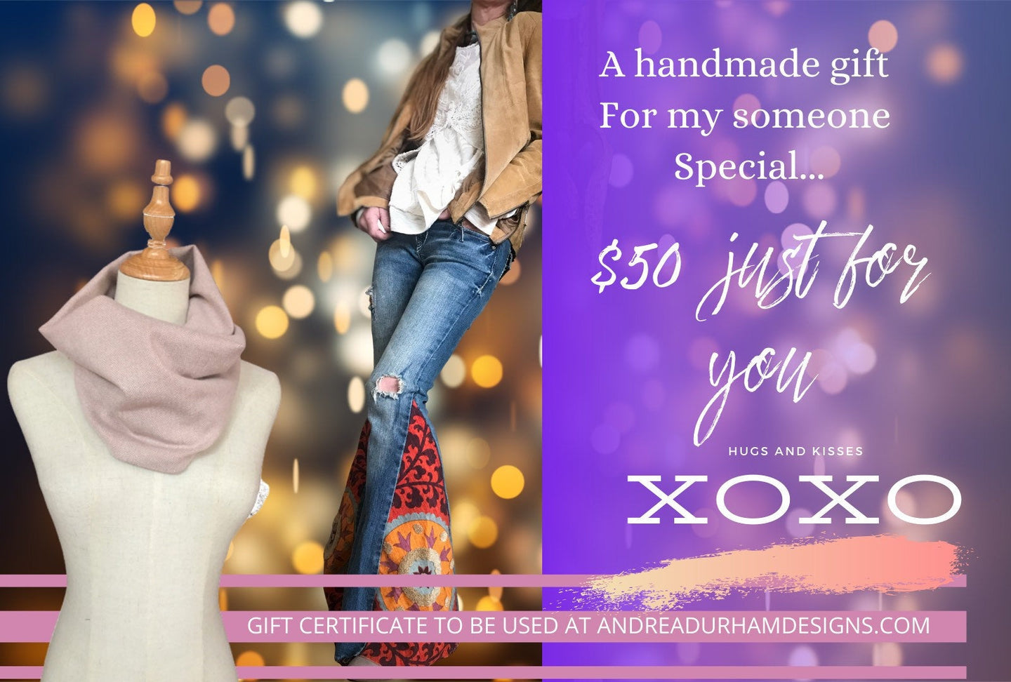 GIFT CERTIFICATE /Gift Certificates / 50 dollar last minute gift card - Up-cycled clothing by Andrea Durham Designs
