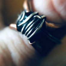 Load image into Gallery viewer, Elven thumb ring | copper and silver wide band |cosplay ring | handmade fairy ring - Up-cycled clothing by Andrea Durham Designs