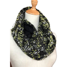 Load image into Gallery viewer, Travel scarf with hidden pocket for your passport, infinity scarf with secret pocket - Up-cycled clothing by Andrea Durham Designs