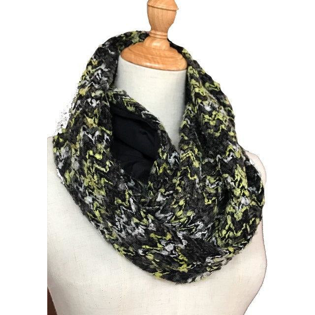 Travel scarf with hidden pocket for your passport, infinity scarf with secret pocket - Up-cycled clothing by Andrea Durham Designs