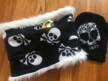 Load image into Gallery viewer, Infinity scarf with skulls, neck warmer with hidden pocket. White faux fur with a reversible skull polar fleece - Up-cycled clothing by Andrea Durham Designs