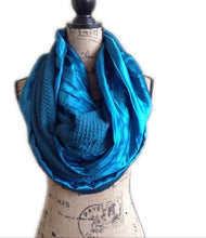 Load image into Gallery viewer, Custom Pocket scarf with Double loop infinity, travel scarves, secret pocket infinity scarf, hidden pocket - Up-cycled clothing by Andrea Durham Designs