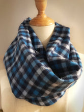 Load image into Gallery viewer, Blue paid infinity hidden pocket travel scarf | passport scarf - Up-cycled clothing by Andrea Durham Designs
