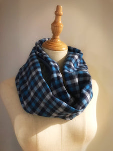 Blue paid infinity hidden pocket travel scarf | passport scarf - Up-cycled clothing by Andrea Durham Designs
