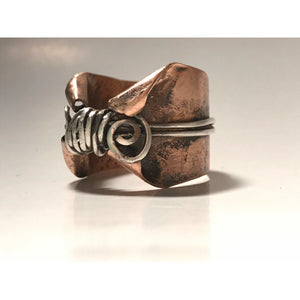 Copper and silver wide banded ring | Cosplay ring | fairy thumb ring - Up-cycled clothing by Andrea Durham Designs