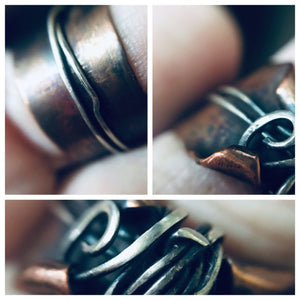 Elven thumb ring | copper and silver wide band |cosplay ring | handmade fairy ring - Up-cycled clothing by Andrea Durham Designs