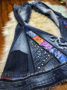 Custom Handmade COLLAGE Bell Bottom Jeans - Up-cycled clothing by Andrea Durham Designs