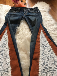 READY TO SHIP Country western bell bottoms | cowgirl jeans | flare jeans size 25 - Up-cycled clothing by Andrea Durham Designs
