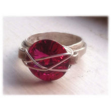 Load image into Gallery viewer, Fuchsia Swarovski Statement ring in silver - Up-cycled clothing by Andrea Durham Designs