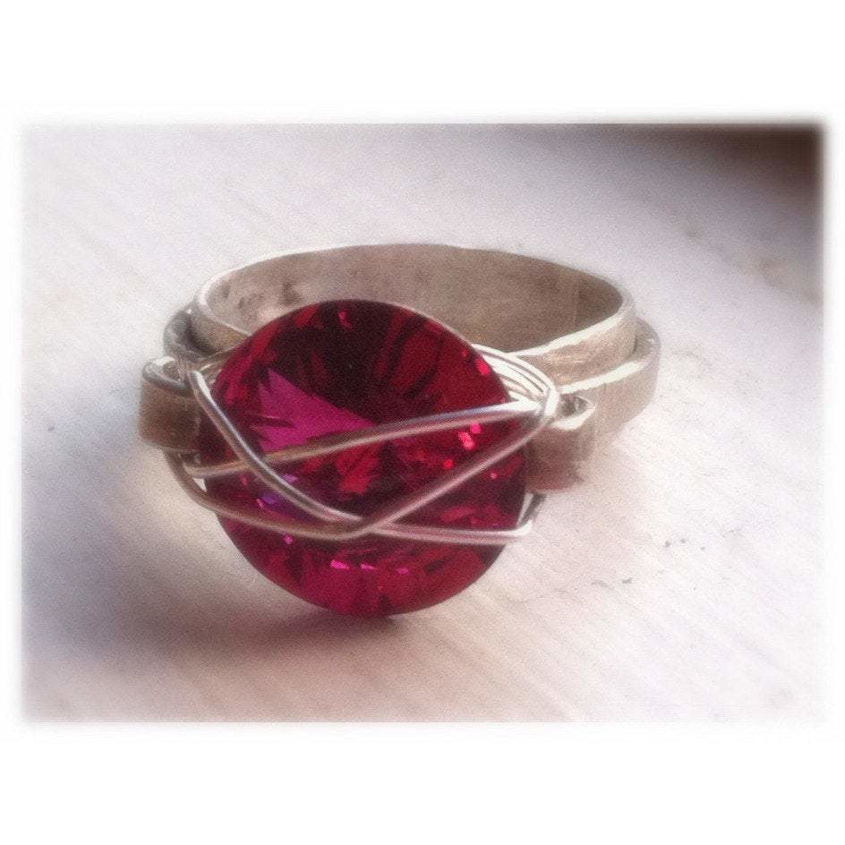 Fuchsia Swarovski Statement ring in silver - Up-cycled clothing by Andrea Durham Designs