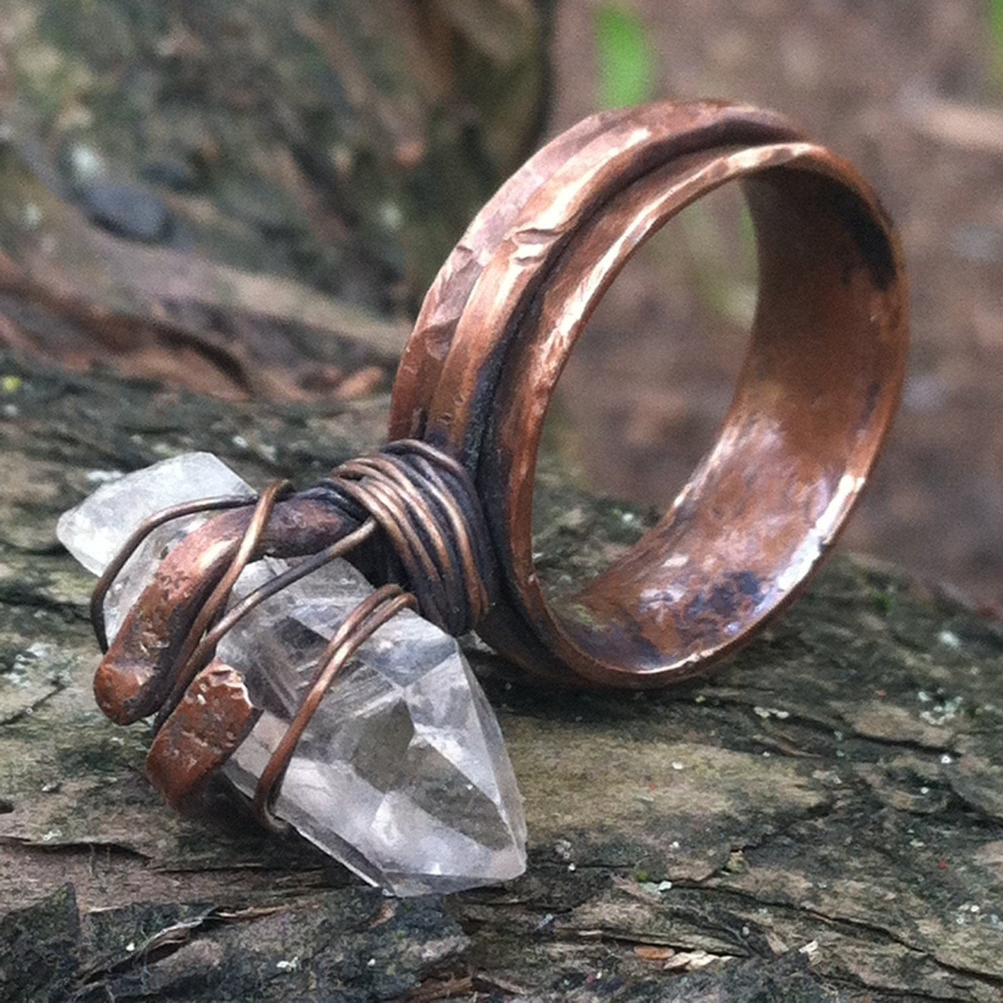 Copper crystal healer ring - Up-cycled clothing by Andrea Durham Designs