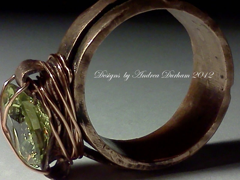 Custom hand crafted copper ring with your choice of stone