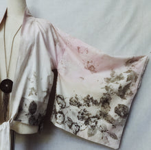 Load image into Gallery viewer, Pink hand dyed eco printed cotton kimono OS