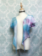 Load image into Gallery viewer, Handmade tie dye T-shirt halter top in blue and fuschia