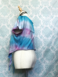 Handmade tie dye T-shirt halter top in blue and fuschia