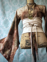 Load image into Gallery viewer, Hand dyed and eco printed kimono wrap crop top