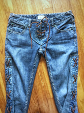 Load image into Gallery viewer, Biker Bell Bottom Jeans size 25/26 Restructured FREE PEOPLE