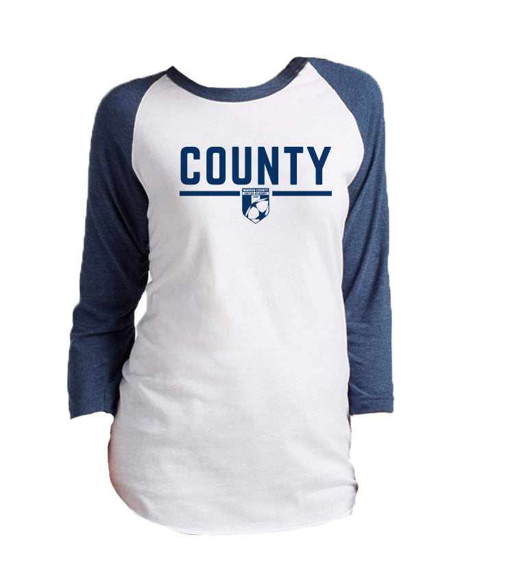 Warren County Soccer Academy | Unisex Raglan 3/4 Sleeve - White/Denim Blue