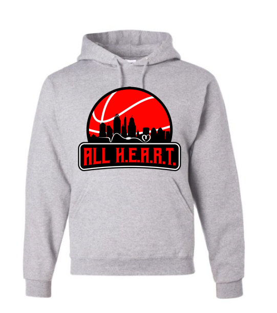 ALL H.E.A.R.T. CITY Unisex GREY Hooded Blend Sweatshirt
