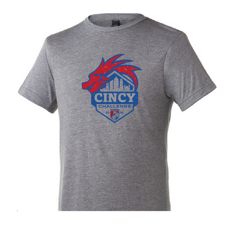 2019 Cincy Challenge | Unisex Tri Blend T - Heather Grey