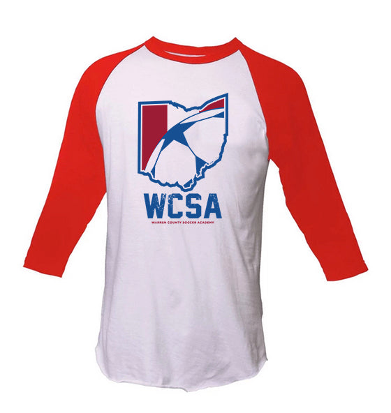 WCSA Ohio Design | Unisex Baseball 3/4 T - Red/White