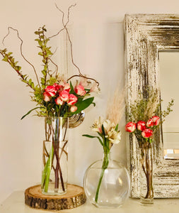 Tea Roses, Huckleberyy, Curly Willow, Alstroemeria
