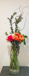 Mixed Color Tea Roses, Huckleberyy, Curly Willow, Alstroemeria XL