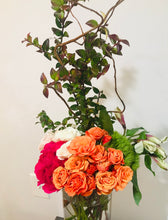 Load image into Gallery viewer, Mixed Color Tea Roses, Huckleberyy, Curly Willow, Alstroemeria XL