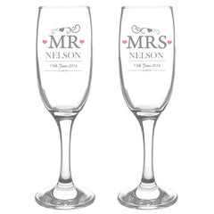 Mr & Mrs Champagne Flutes with Gift Box - All Things Interior