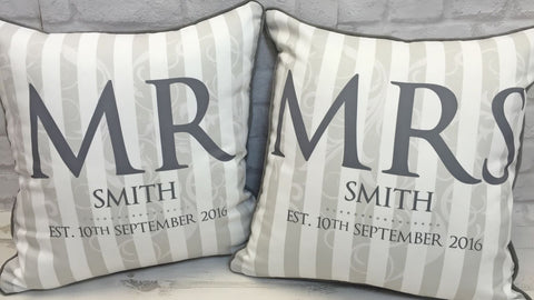 Mr & Mrs Set of 2 Cushions