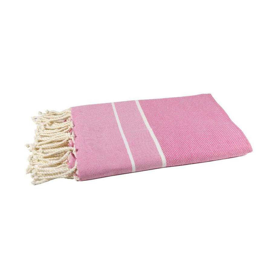 Fouta chevron couleur rose bonbon - by foutas