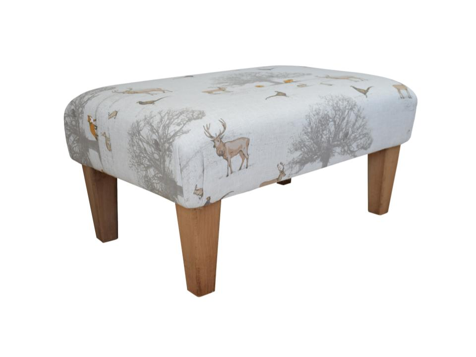 Large Footstool - Tatton Country Fabric