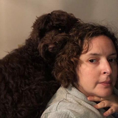 wildcharts.store owner and her puppy