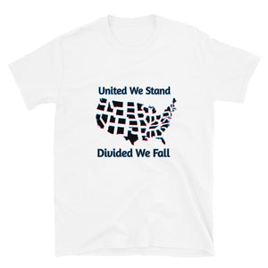 United We Stand, Divided We Fall, US Map, Short-Sleeve Unisex T-Shirt