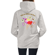 Load image into Gallery viewer, Cute Sloths on the front, descriptive habitat map in the back, Kids Hoodie